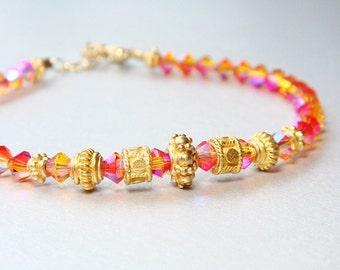 Fire Opal Bracelet, Swarovski Fire Opal Crystal, 24K Gold Vermeil Bali Beads, Summer, Beach, Sexy Jewelry, Pink Jewelry - CLEARANCE