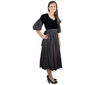1980s dress, black taffeta velvet dress, 80s party dress, RK Originals, gothic dress, Size 12