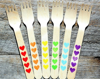 """SMALL Wooden Forks BOYS Rainbow Hearts, Eco-friendly Wooden Dessert Forks, Birthday Cake Forks, Appetizer Forks (5.5"""" - 18 ct) Ready to Ship"""