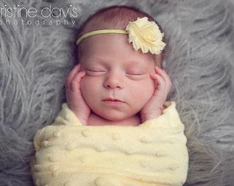 Yellow Shabby Chic Fabric Flower Skinny Headband - Newborns Baby Toddler Girls Photo Props