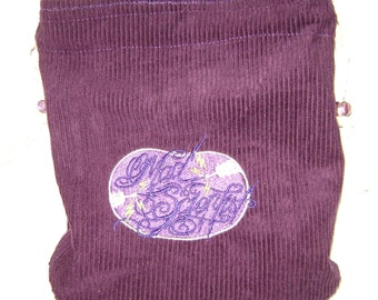 Purple Corduroy Bag With Embroidered MAD SCIENTIST - Steampunk, Tarot, Oracle, Gaming Dice