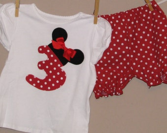 Disney Inspired Minnie Mouse Outfit -Baby Toddler Girls Bloomers Shorts -Perfect for Disney Trips - Birthday Gift- Red Polka Dots