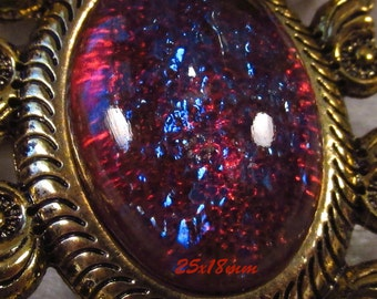 25x18mm Mexican Opal (Dragons Breath) - Glass Cabochon - 1 pc : sku 03.06.13.3 - J7