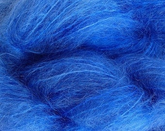 Hand Painted Mohair Yarn in Cowboy Blue Fingering Weight