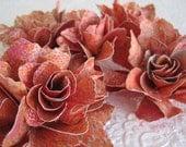 Tangerine & Pink Patterned Paper Flowers - Set of 5