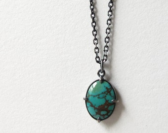 Oval Turquoise Cabochon Minimal Pendant Necklace