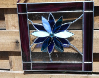 Stained Glass Panel with 3D Flower-Purple-Blue-Clear-Suncatcher