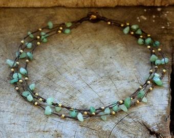 Jade Brass Tie Necklace/ Choker Necklace