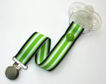 Navy Blue Green Stripes Pacifier Clip Soothie Gumdrop Holder