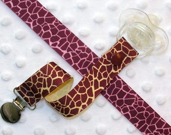 Giraffe Print Pacifier Clip Soothie Clip Holder, Brown or Pink