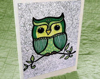 Green Owl on a Branch Greeting Card