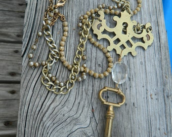 Vintage Skeleton Key and Escutcheon Assemblage Necklace