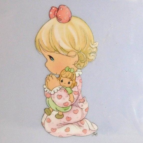 Iron on aplique / Precious Moments/ baby girl praying aplique