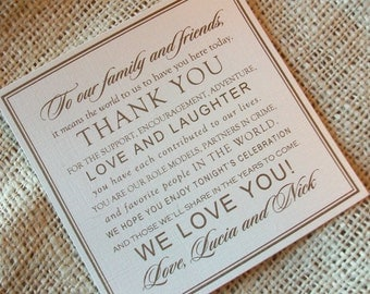 Wedding Thank You Card - Thank You Design - your choice of colors - Shimmer Cardstock - Sample
