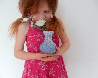 Flowers for Momma / small blue vase / blue decor / blue home decor / handcrafted vase / mothers day