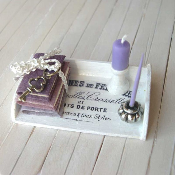Dollhouse Writing desk lilac in 1/12 scale