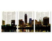 Austin, Texas Skyline 3 pack dictionary prints City Scape awesome upcycled vintage dictionary page book art prints
