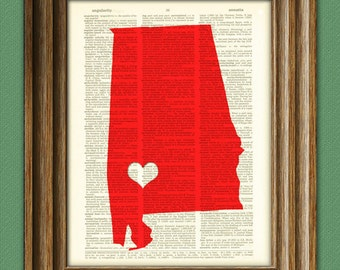 My Heart is in Alabama state map awesome upcycled vintage dictionary page book art print