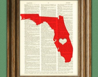 My Heart is in Florida state map awesome upcycled vintage dictionary page book art print