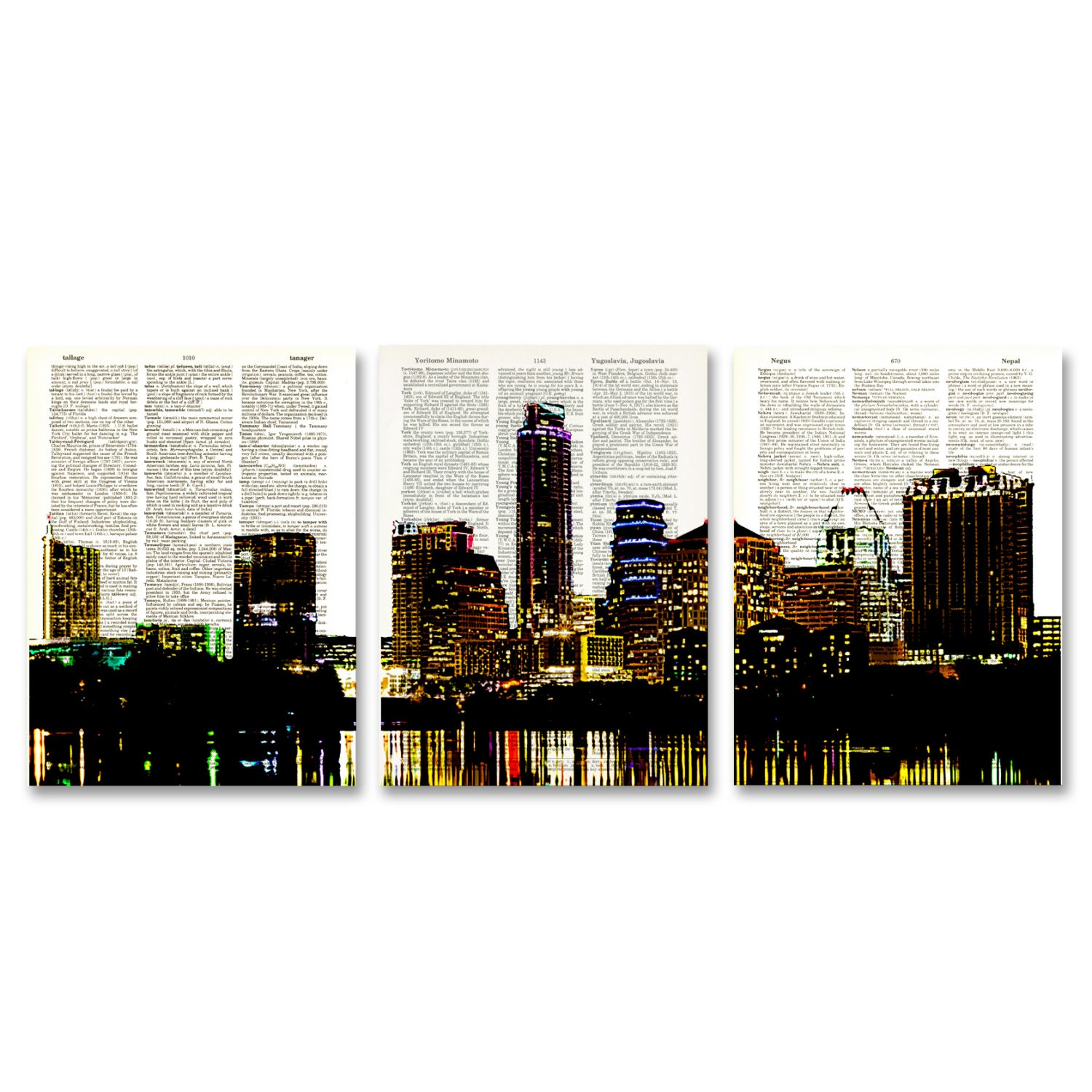 Color printing austin - Austin Texas Skyline 3 Pack Dictionary Prints City Scape Awesome Upcycled Vintage Dictionary Page Book Art Prints