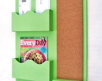 Mail Organizer - Mail Holder - Letter Holder - Mail Sorter - Cork Board - Key Hooks - Coat Hooks - Key Hooks