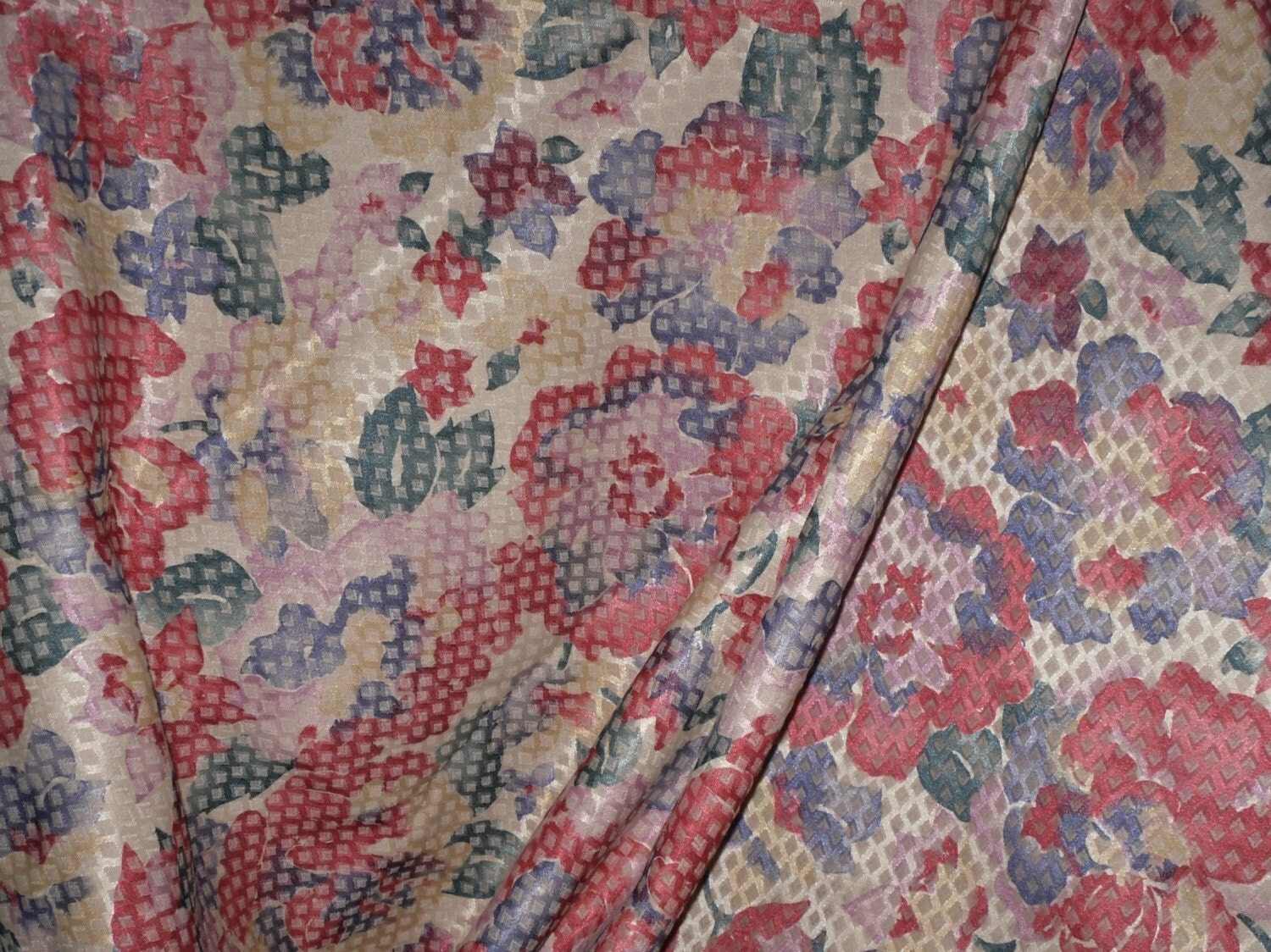 Vintage Screen Printed Fabric Old Fashioned Flowers On - retro home decor fabric by the yard