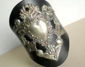 CRAZY SALE .. Milagro Angel Cherub Heart Leather Cuff Bracelet- Ex Voto Mexico Folk Art. Artisan Handmade