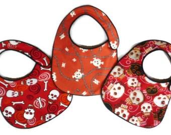 Punk Rock Red Skulls Baby Bibs - set of 3 bibs