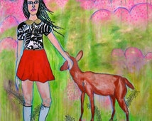 Large acrylic & mixed media painting Girl with Deer drawing original artwork canvas painting figurative art naive childlike jamie hudrlik