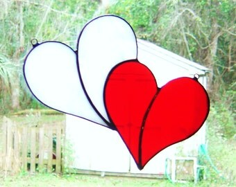 Custom Reversible Red and White Double Stained Glass Heart Suncatcher