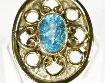 Stunning Blue Topaz 18kt Gilt Sterling Silver Vintage Ring