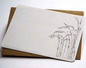 The Wheat Field Notecards in Cream, Brown and Beige - Set of 6 flat Notecards and Kraft Envelopes
