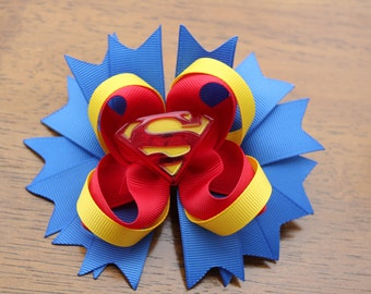 """4""""  Superman Super Girl Super Hero Bow Hairbow alligator clip birthday party"""