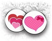 4 x 6 Valentine Hearts 1 Inch Circles Digital Collage Sheet Download and Print