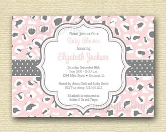 Light Pink Leopard Print Baby Shower Invitation - Printable Invitation Design