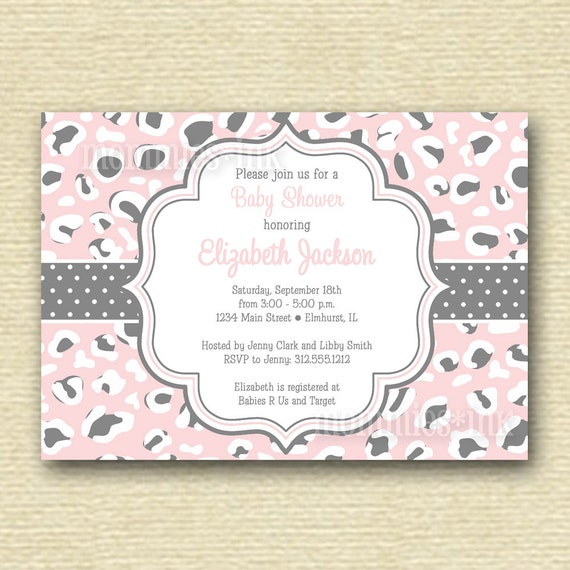 leopard print baby shower invitation printable invitation design