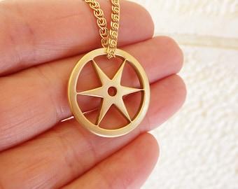 18K gold pendant, gold star pendant, gold sun pendant, gold circle pendant, yellow gold pendant