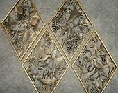 Set of 4 Gold Burwood Diamond Shaped Wall Hangings Bird Themed