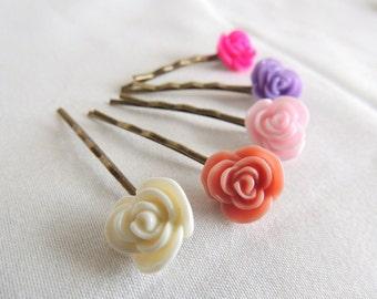 Petite Rose Flower Bobby pins set of 5 Antiqued Brass, Rose Hair clip, Vintage Retro Hair pins, Flower girls hair, Christmas Holiday gift