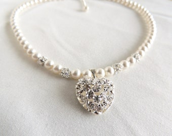 Bridal Necklace, Rhinestone Heart and Swarovski Pearls Necklace, Wedding party, Bridesmaids necklace, Anniversary gift, Mother's day gift