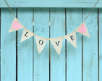 MINI LOVE banner with pink fabric hearts