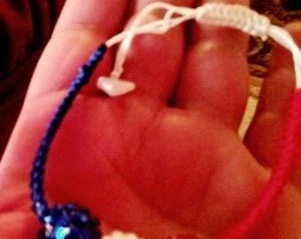 Red White Blue Shamballa Bracelet / 4th of July Macrame bangle / Unisex Shamballa bracelet in any size