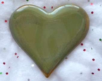 Sparkly Mossy Green Heart Brooch