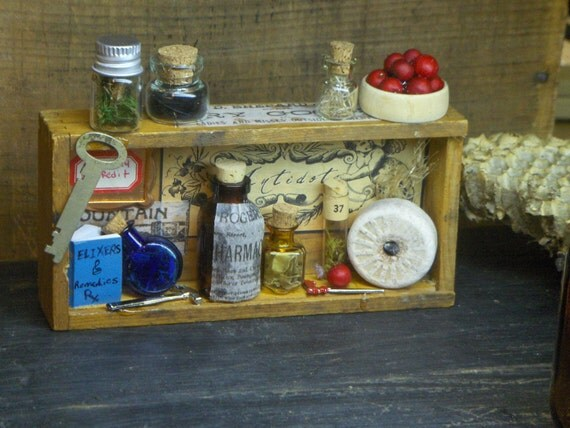 The Olde Apothecary. Curious Assemblage Mini Vintage wood box diorama curio, antique glass bottles vials, moss, feather, berries, elixers