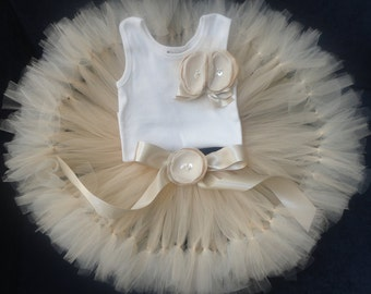 Baby Girls Birthday Tutu Dress Outfit  Champagne Tresor Tutu Dress Champagne Flower Girl Dress Set