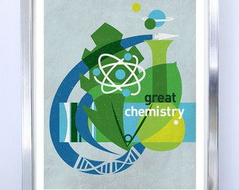 Great Chemistry, Science Poster Art Print Science Illustration Poster - Wall Art - Stellar Science Series