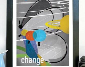 Change Science Poster, Art Print, Original Illustration - Wall Art - Stellar Science Series