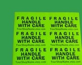 "20 LARGE 2x4-INCH Personalized FRAGILE Handle with Care Neon Green Labels. 2 Sheets 2x4"" Labels. 5063"