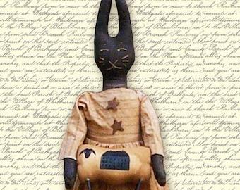 Primitive Pattern pdf  Black Rabbit  easter Folk Art  Bunny INSTANT DIGITAL DOWNLOAD
