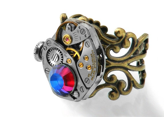 Steampunk Ring, Chameleon Crystal & Vintage Watch Mechanism - Adjustable ring